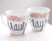 playa loves shawty - set of two (2) vintage mug - upcycled pair of tea cups