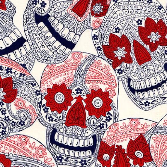 Indigo Skull Fabric