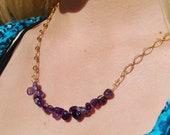 Amethyst Necklace Gold Amethyst Necklace Amethyst Crystal Necklace Amethyst Nugget Necklace on Gold Plated Chain February Birthstone