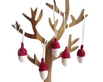 Decor felt white Acorns with glitter red caps. Woodland ornament.
