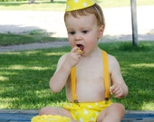 You Are My Sunshine Birthday Baby Boy / Toddler Party Hat,  Necktie & Diaper Cover Set in Bright Sunny Yellow and White Polka Dots
