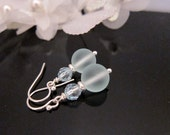 Soft Aqua Swarovski Crystal and Frosted Bead Earrings