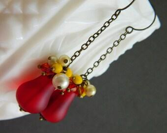 Pear Earrings, Autumn Earrings, Fall Earrrings, Fall Jewelry, Harvest Pears,  Bohemian Chic, Vintage Earrings, Bead Cluster Earrings