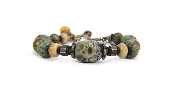 Olive Green Gold Brown Teal Antique Bronze Lampwork Beaded Bracelet:  Sierra Madre