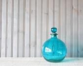 Large Aqua Bottle // Glass Vase