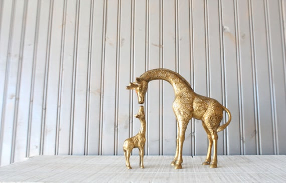 Brass Giraffe Pair // Mother and Baby