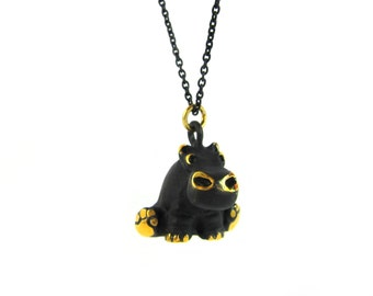 "Sitting Hippopotamus Pendant - Large - Walter Bosse ""Black Gold"" Bronze Hippo Necklace - 26"" Chain"