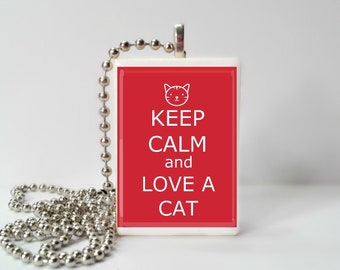 Keep Calm And Love A Cat Game Tile Pendant Necklace