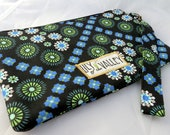Wristlet Clutch Purse - Black, Blue, Green, White with Black Lining