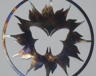 Butterfly and Sun , Metal art, Round Wall Decor