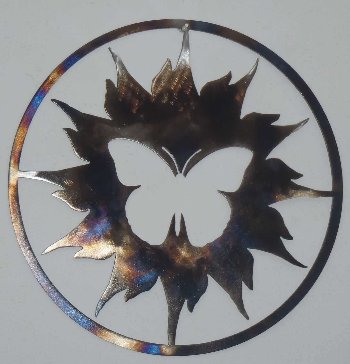 Butterfly And Sun Metal Art Round Wall Decor