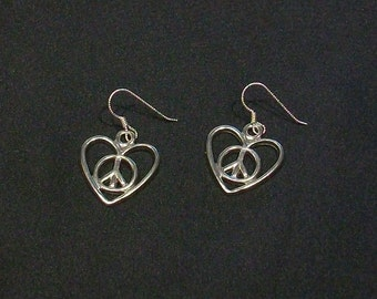 Peace & Love Earrings with Sterling Silver Earwires