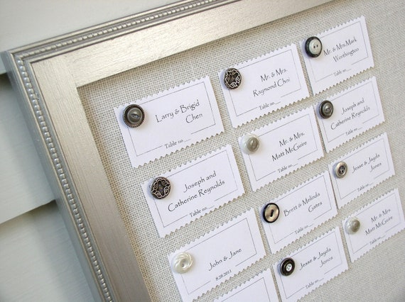 WEDDING SEATING CHART Metallic Silver Wood Reception Magnet Board for Escort Card Display - Deluxe Package with Magnets and Place Cards