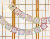 Cute Traditional Japanese Little Kokeshi Doll or Happy Birthday Banner Decoration in bright colors for decoration - digital file- you print