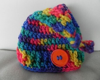 Colorful Topknot Hat INVENTORY REDUCTION SALE  Ready to Ship Only One Available