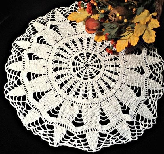 Crocheted Doily  Large White Vintage Doilys Doilies Centerpiece   A476