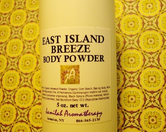 East Island Breeze Body Powder - Cooling, Soothing, Deodorizing, Non-Talc Solution for Natural Body Care, Fragrant, Absorbing, 4 oz.