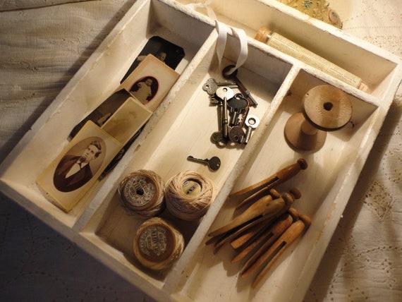 RESERVE for ELKE Antique Lg Shabby Chippy White Organizer Box