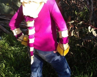 ON SALE...yellow magenta..... eco pixie, elf coat hoodie
