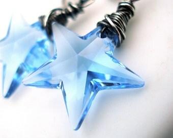 Blue Swarovski Star Earrings Oxidized Sterling Silver Light Sapphire Swarovski December Birthstone