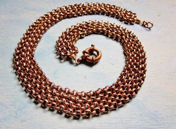 Brass Statement Necklace Art Deco Jewelry Rollo Link Multi Chain Swag Collar Vintage 1930s Jewelry