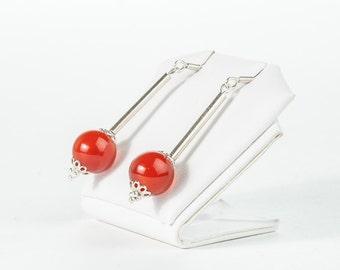 Everyday Earrings, Autumn Jewelry Orange Agate Earrings, Sterling Silver Earrings, Semigemstone Earrings Jewelry, Orange Autumn Jewelry