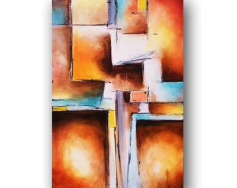Art Painting Abstract Contemporary Art Teal and Peach Painting Large Original Painting on Canvas Geometric Art Heather Day 36x24