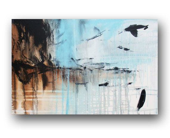 Abstract Painting Original Painting on Canvas Baby Blue Painting Acrylic Wall Decorations Modern Art 36x24 by Heather Day