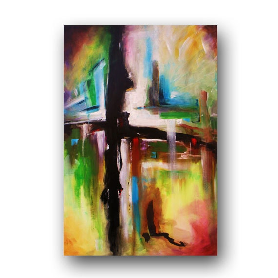 Cross painting abstract painting original painting on canvas for Cross paintings on canvas