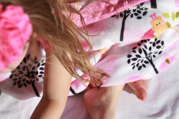 READY TO SHIP- Double Minky Jungle Zoo Baby Girl Blanket- Owl Elephant Monkey Giraffe Minky Baby Blanket With Pink Dot Minky