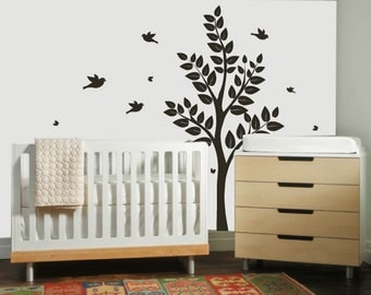 Children's Tree Decal - Vinyl Wall Decals - nursery decals with Butterflies,TREE & birds