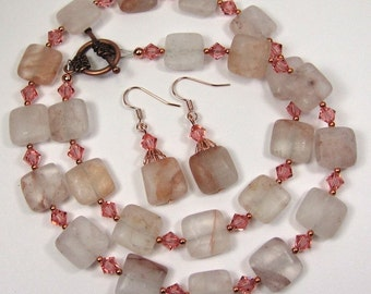 Pink Bood Quartz Gemstone Copper Necklace Earring Set With Rose Peach Swarovski Crystals