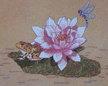 Annmarie Bachman FROG On A LILYPAD Lily Pad Picture - Counted Cross Stitch Pattern Chart - fam