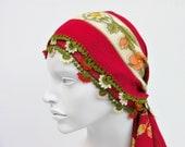 Hand crocheted  lace  head scarf / Turkish oya scarf /ethnik / bandana  /turban  /headband/gift for her/pure cotton