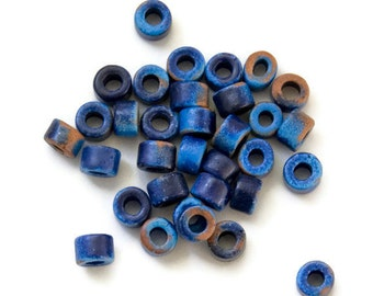 30 pcs Blue Brown ceramic beads tubes - 4x6mm C 10 392