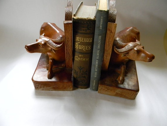 Carved Wooden Buffalo Bookends
