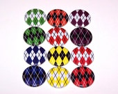 "Argyle Pattern Rainbow Colors 1 Inch Pin Back Buttons 1"" Pins"