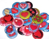 "Love Hearts Set of 10 Buttons 1"" Pinback Buttons or 1"" Magnets Valentine"