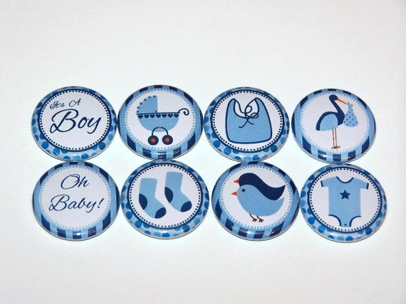 baby shower boy blue set of 8 buttons 1 inch pin back buttons 1 pins