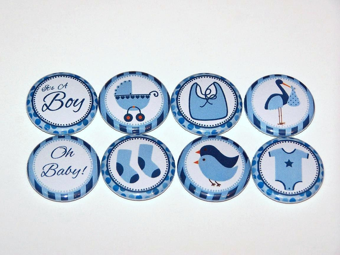 baby shower boy blue set of 8 buttons 1 inch pin back buttons