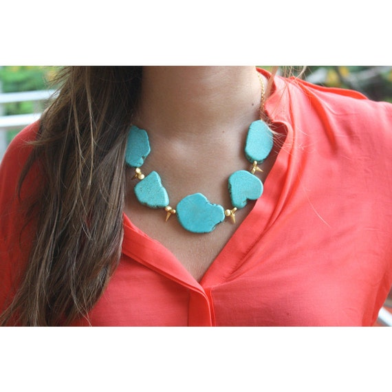 Turquoise Necklace with Gold Spikes