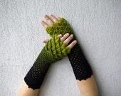 Black fingerless gloves Mens fingerless gloves Driving gloves Winter gloves Arm warmers Womens gloves Wool gloves Long fingerless Knit glove