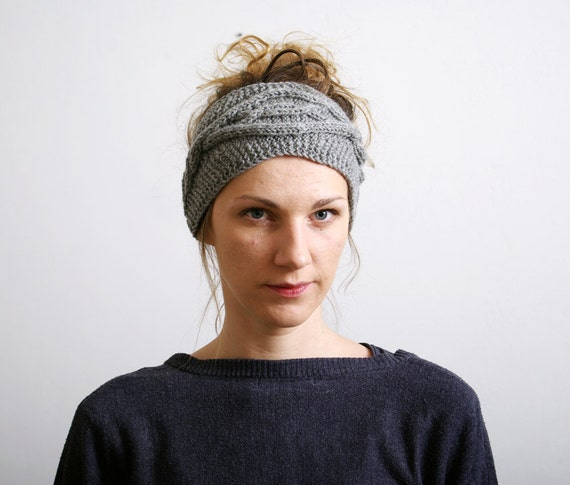 Knit Headband Pattern Button Closure : Light Grey Knitted Headband Ear Warmer Cable knit by mareshop