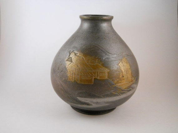 Asian Vintage Bronze Brass Pot Vase  engraved with Pagota Trees and Birds