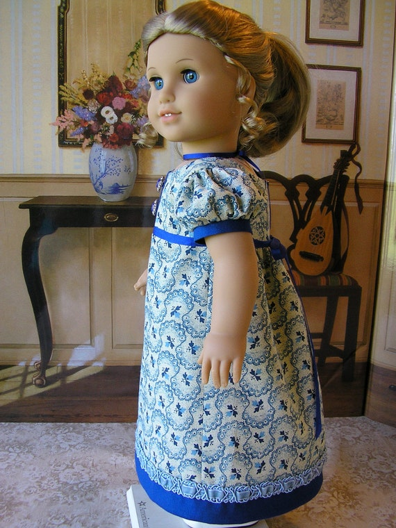 American Girl Caroline 1812 blue Regency period gown with velvet fancy trim and silk ribbons