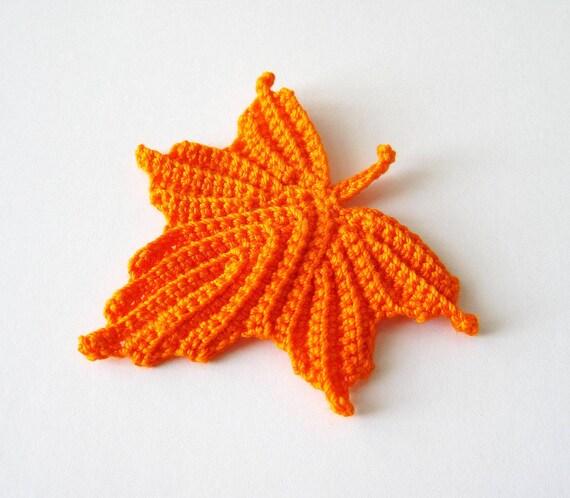 Foglia di acero all 39 uncinetto in arancione di goldenlucycrafts for Foglia acero