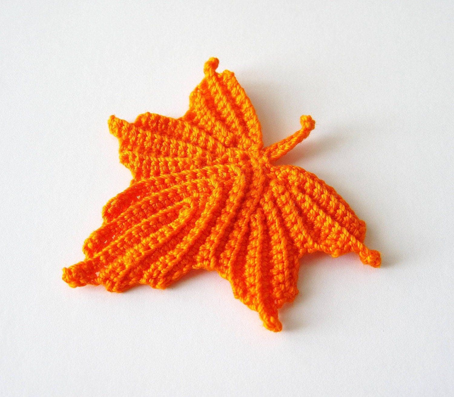 Crocheted Maple Leaf in Orange