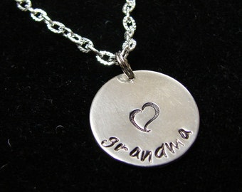 Hand Stamped Grandma necklace with heart.