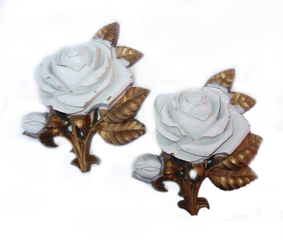 Vintage 60s Homco ROSES Gold & Cream Pair Wall Decor Plaques Hollywood Regency