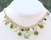 Green Prehnite, Pearls & Gold Necklace